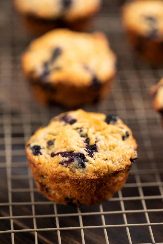 A closeup of a baked blueberry muffin.