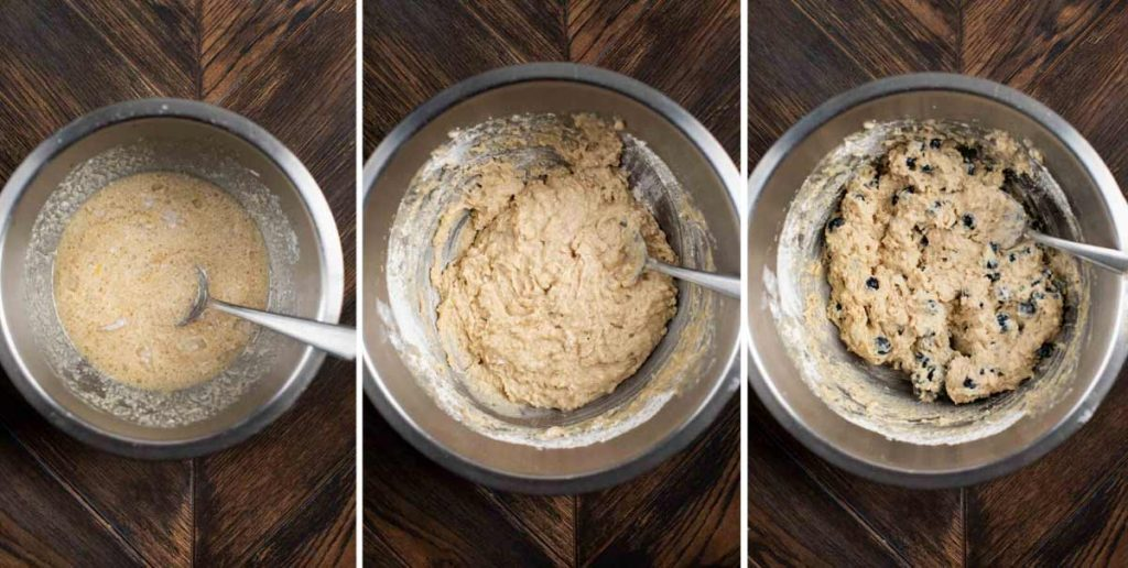 3 photos showing the dry ingredients mixed with the wet ingredients for Vegan Blueberry Muffins.
