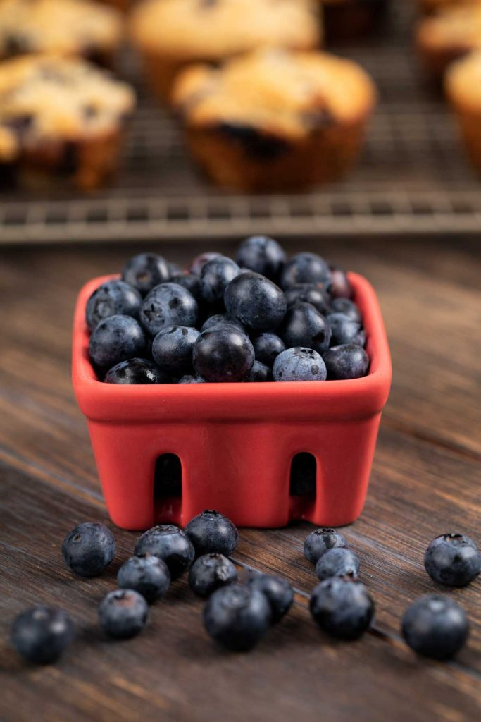 A photo of a small container filled with fresh blueberries.