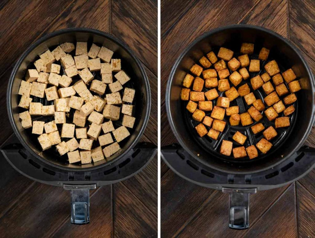 2 photos showing tofu cubes in an air fryer basket, and another image showing it cooked.
