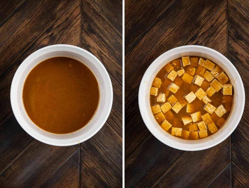 2 photos showing a bowl of marinade and another with tofu cubes added to the marinade.