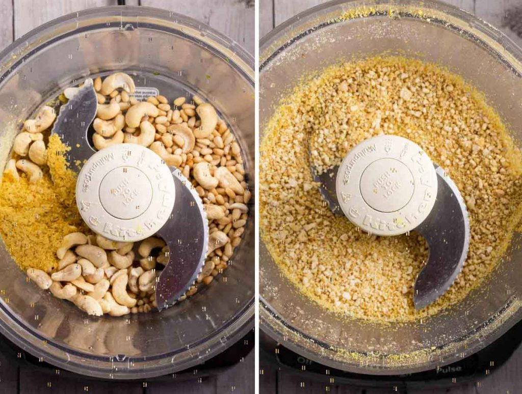 2 images showing cashews and nutritional yeast being added to a food processor and then the second shot, blended.