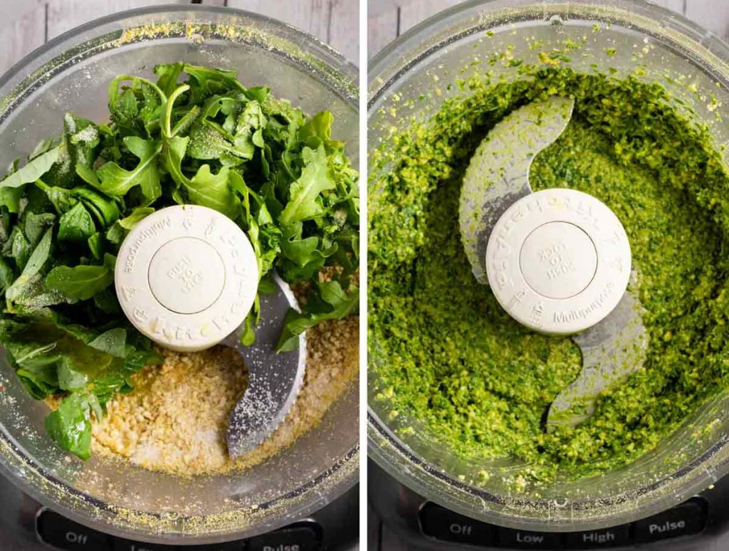 2 photos showing arugula and basil and other ingredients added to the food processor, and another showing it blended together.