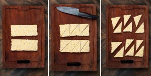 3 photos showing tempeh on a cutting board, being cut into triangles.
