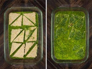 2 photos showing tempeh slices in a baking dish, sitting on a layer of chimichurri sauce, and another shot of the tempeh covered in chimichurri sauce for marinating.