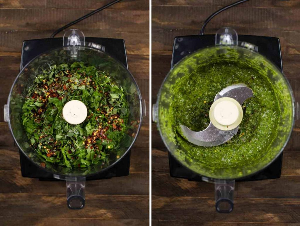 2 photos showing a food processor filled with the ingredients for chimichurri sauce and another with it blended together.