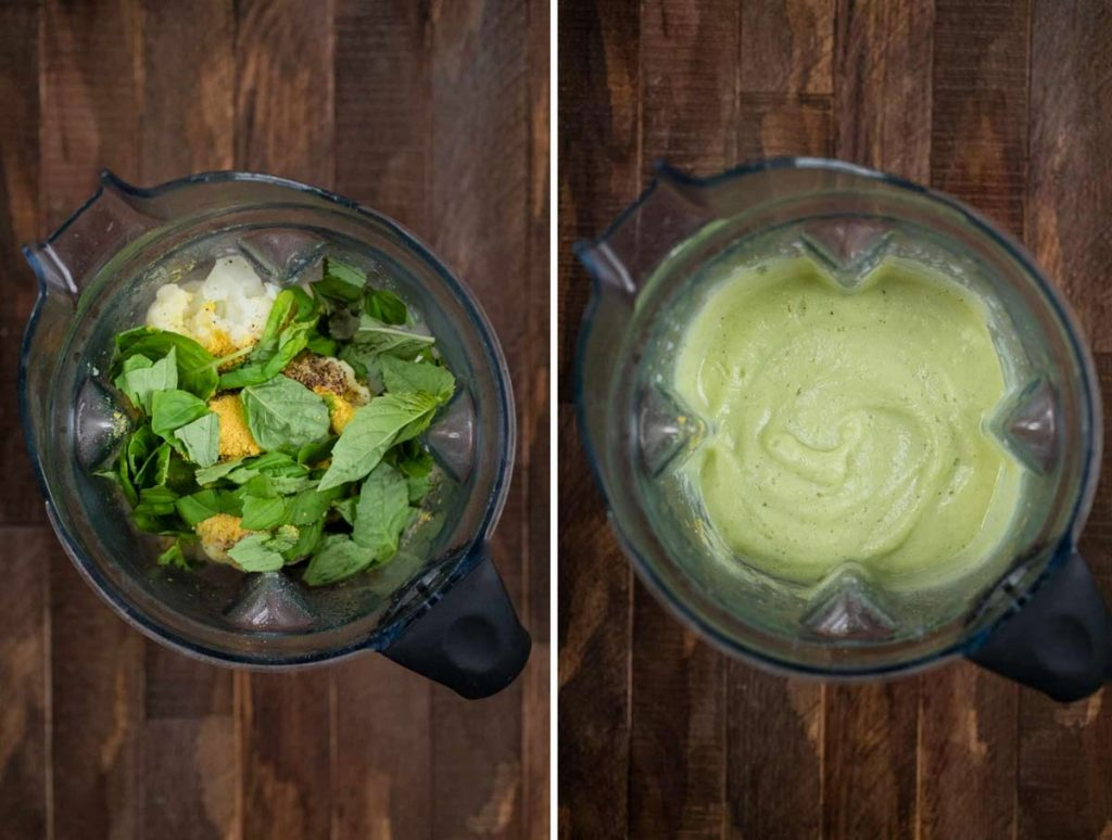 2 photos showing ingredients for cauliflower pasta sauce added to a blender, and the second photo showing it blended into a sauce.
