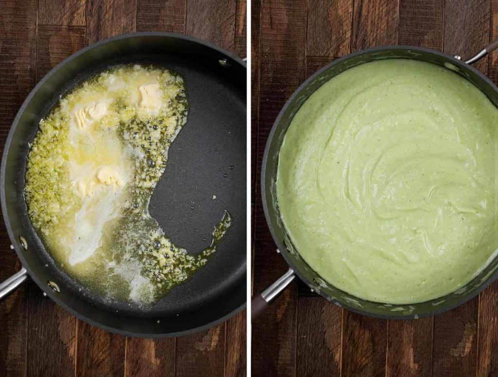 2 photos showing vegan butter and garlic in a pan and then another shot with the pasta sauce added.