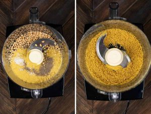 2 photos showing a food processor with pine nuts, nutritional yeast, salt and pepper and the second shot showing it blended together.