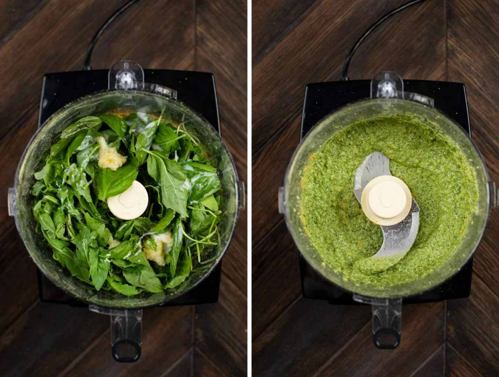 2 photos in a food processor showing arugula and pesto pasta ingredients added, and another shot showing it blended together.