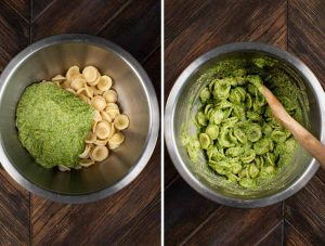 2 photos showing a stainless steel bowl filled with pasta and sauce, and the second photo showing it blended together.