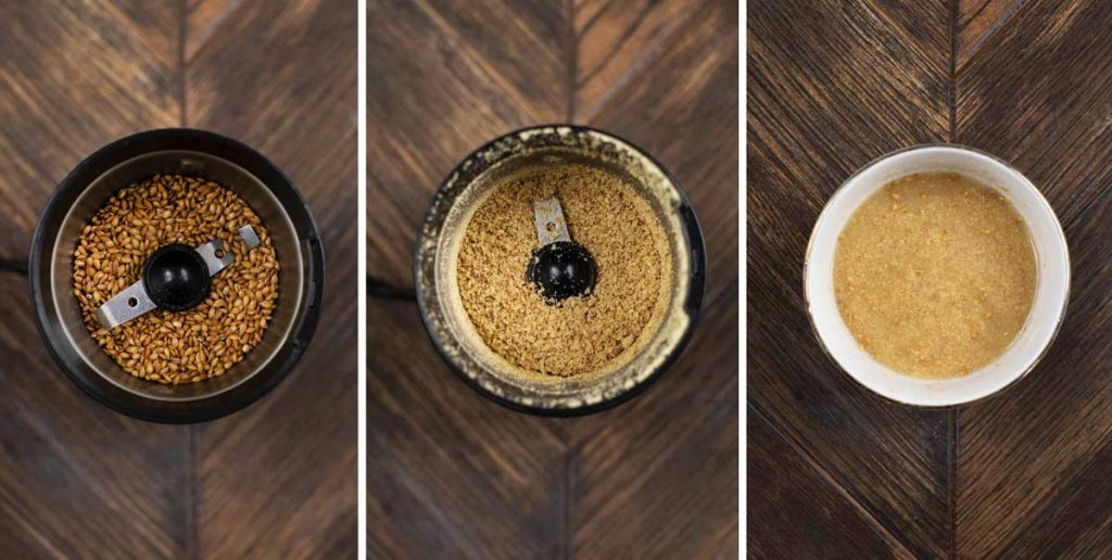 3 photos showing the process of making a flax egg in a coffee grinder.