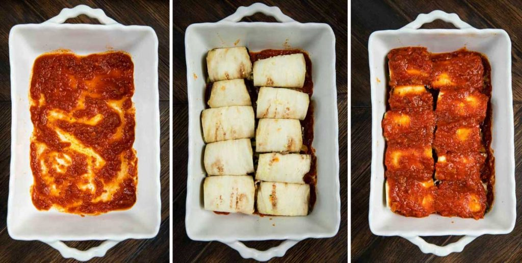 3 photos showing a baking dish with marinara, eggplant rolls ups in the dish and then covered with marinara.