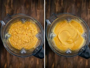 2 photos showing crushed lentil soup being blended in a blender.