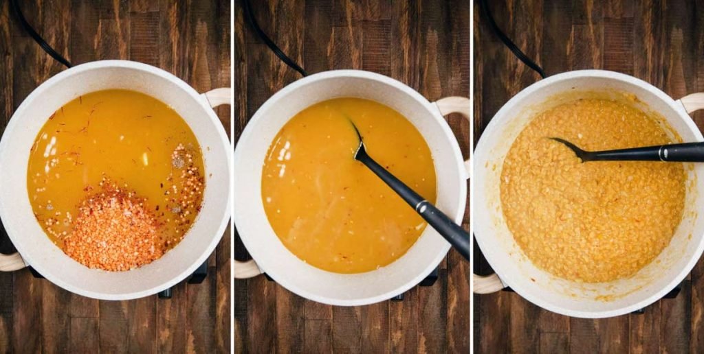 3 photos showing crushed lentil soup being made, with lentils and other ingredients being added, then cooked until thick.