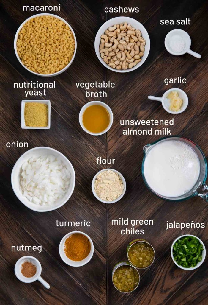 An overhead shot of all the individual ingredients for Green Chile Mac and Cheese.