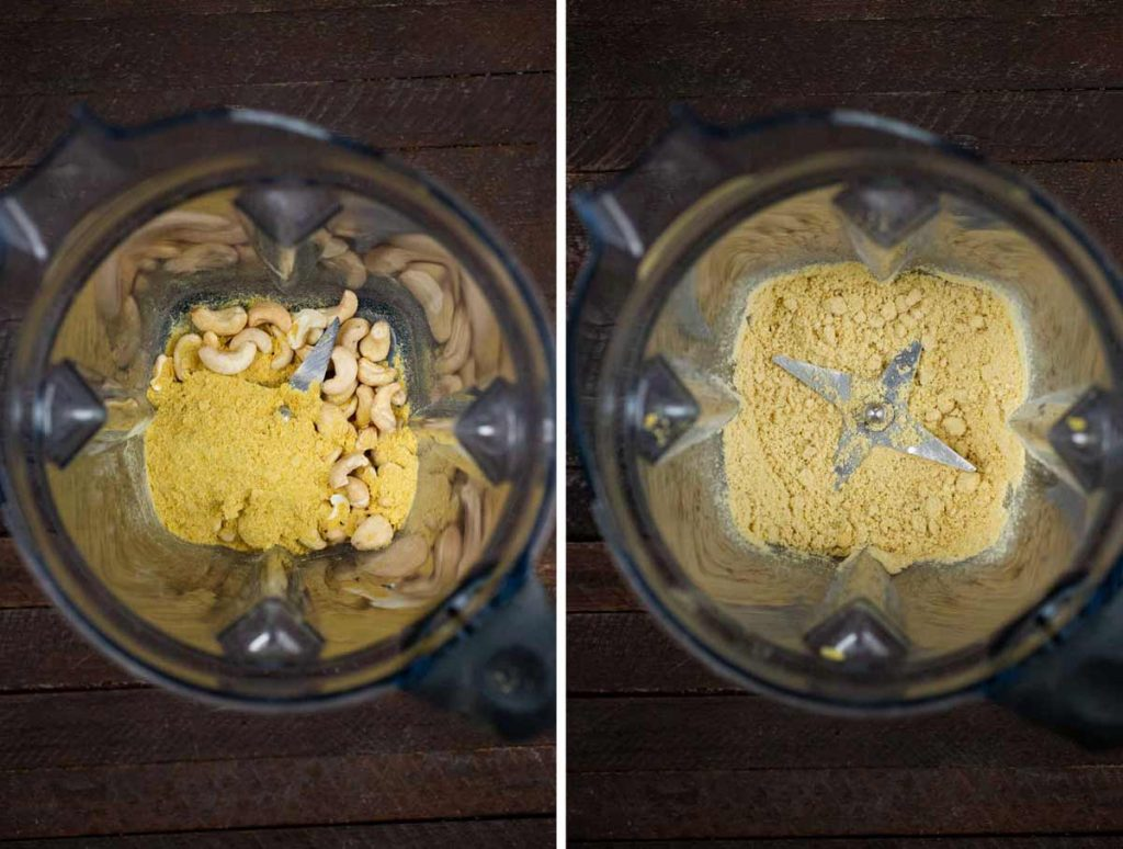 2 photos showing cashews and nutritional yeast added to a blender, and blended together into a powder.