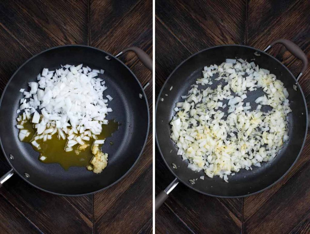 2 photos showing onions, garlic and vegetable broth added to a skillet, then cooked until soft.