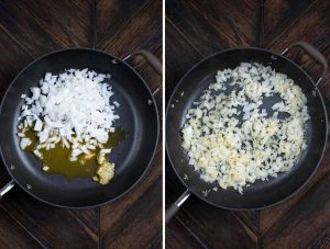 2 photos showing white onion, garlic and vegetable broth in a skillet, and cooked until soft.