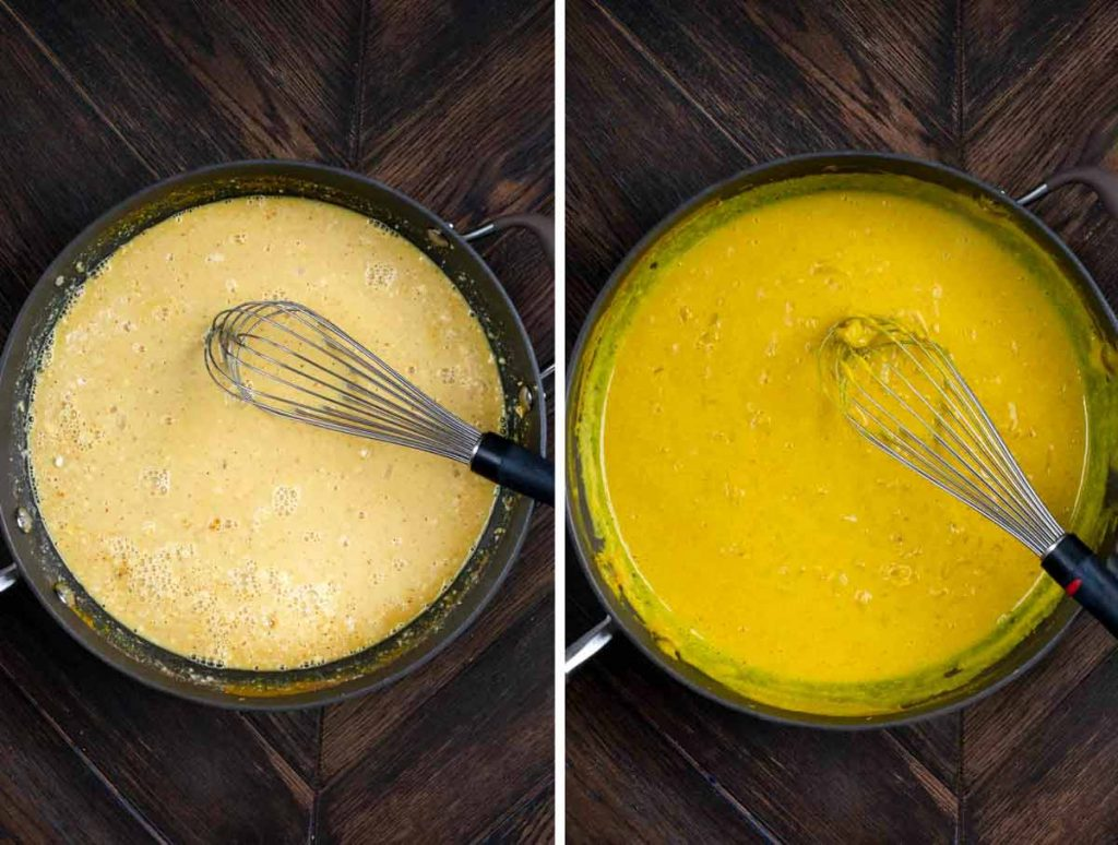 2 photos showing milk, turmeric, flour and spices added to onions and garlic, then blended until smooth and thick.