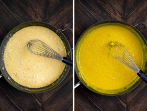 2 photos showing milk, flour, turmeric and spices added to veggies, and then stirred and thicked.