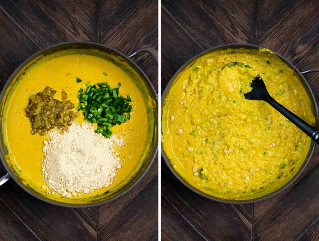 2 photos showing green chiles, jalapenos and cashew cheese added to a sauce, and blended/cooked together until thick.