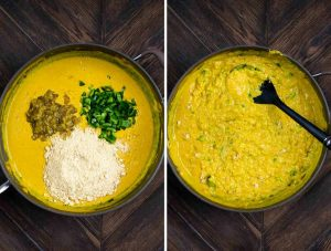2 photos showing a skillet and adding cashew powder, jalapenos and green chiles, and then stirred and cooked until thickened.