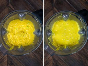 2 photos showing green chile sauce being added to a blender, and blended until smooth.