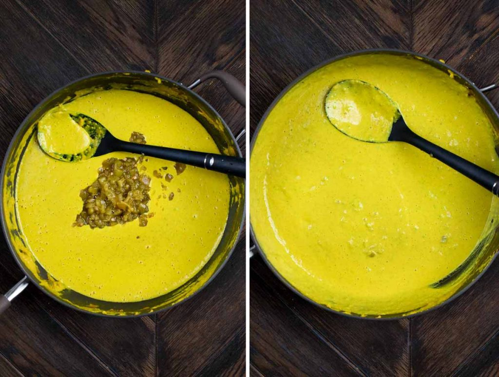 2 photos showing green chiles added to a green chile mac and cheese sauce and stirred in and simmered.