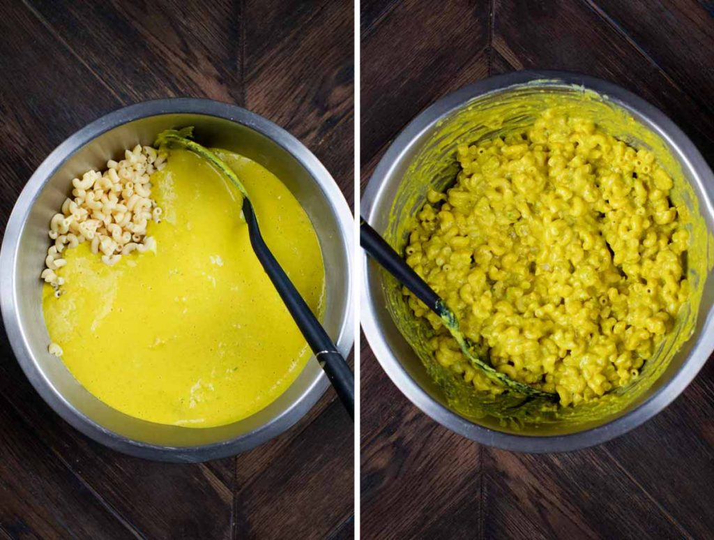 2 photos showing green chile mac and cheese sauce being added to macaroni noodles and stirred together.