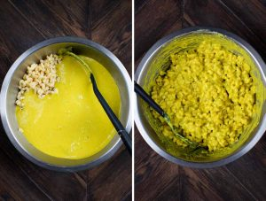 2 photos showing a green chile cheese sauce being added to a bowl of macaroni noodles and stirred until combined.