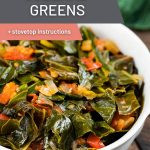 Instant Pot Collard Greens in a white bowl.