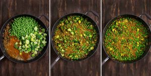 3 photos showing broccoli, peas and curry powder added to lentils, stirred and simmered, and the final dish.
