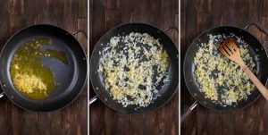 3 photos showing vegetable broth and garlic added to a skillet, then onions, then cooked until soft.