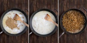 3 photos showing lentils, coconut milk and water added to garlic and onions, and simmered until cooked.