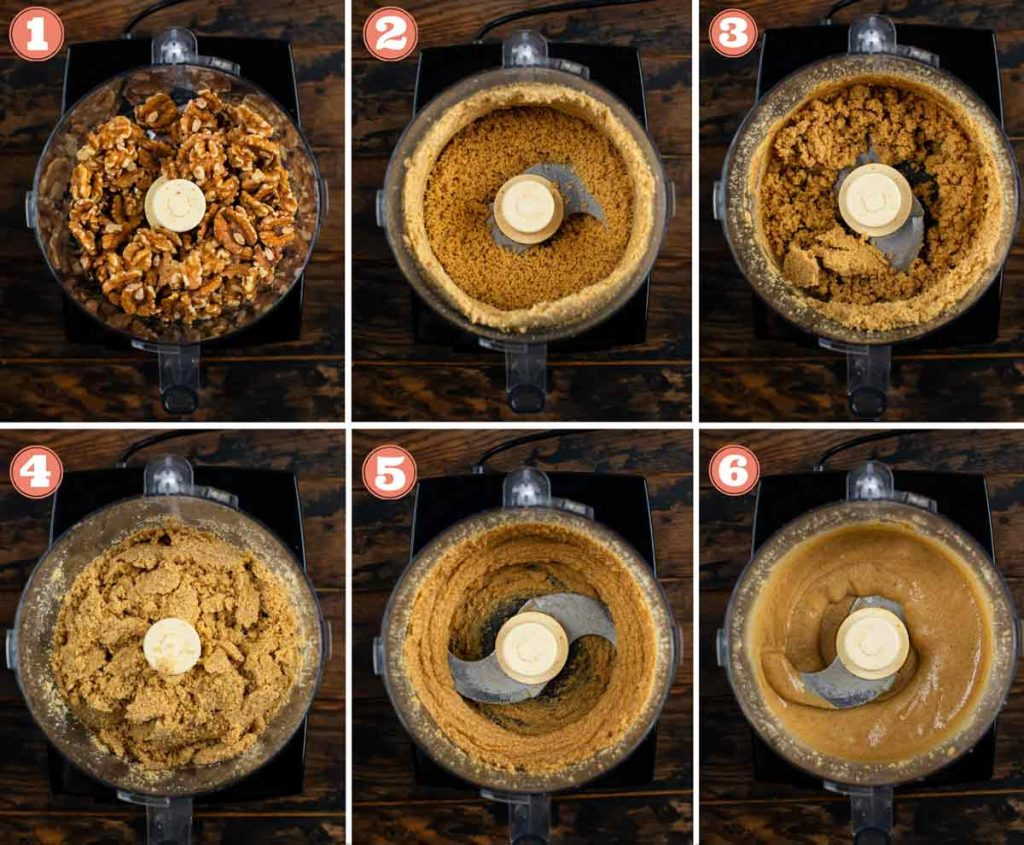 6 images showing the process of making walnut butter in a food processor.