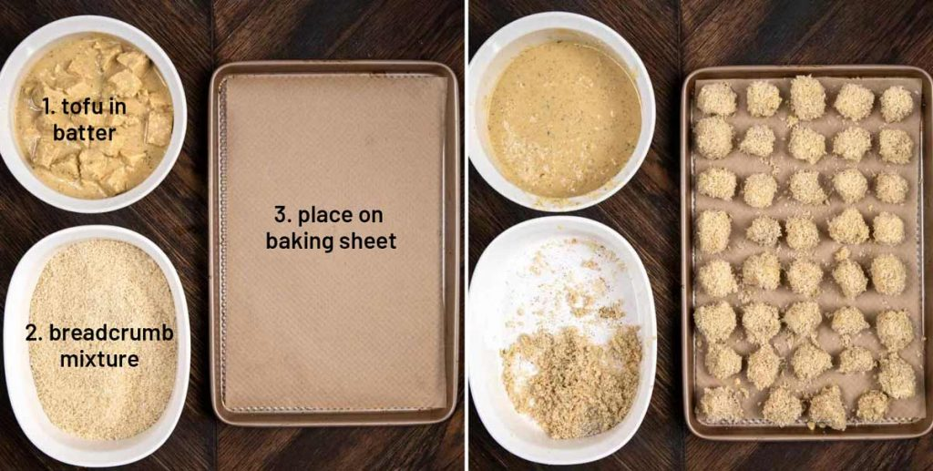 2 overhead process photos showing a bowl of batter and breadcrumbs, with an empty baking sheet, then with the chicken nuggets on the baking sheet.