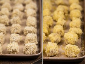 2 images showing tofu nuggets on a baking sheet and sprayed with oil.