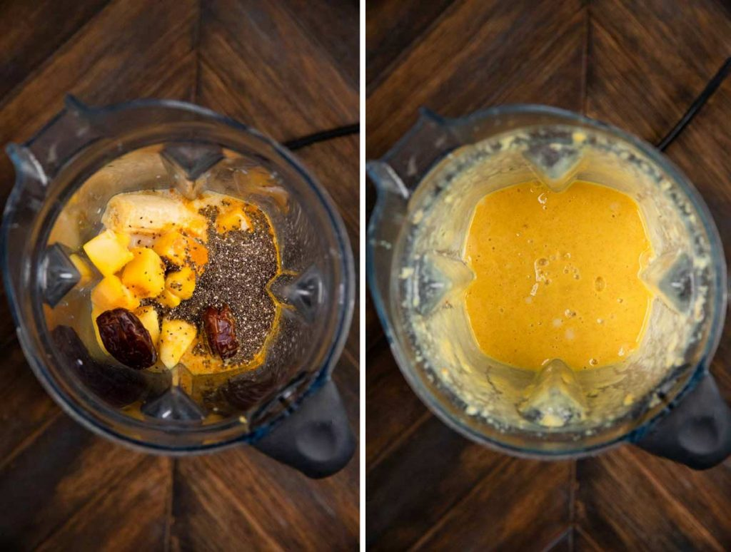 2 photos showing the ingredients for a smoothie in a blender, and another photo of it blended together.