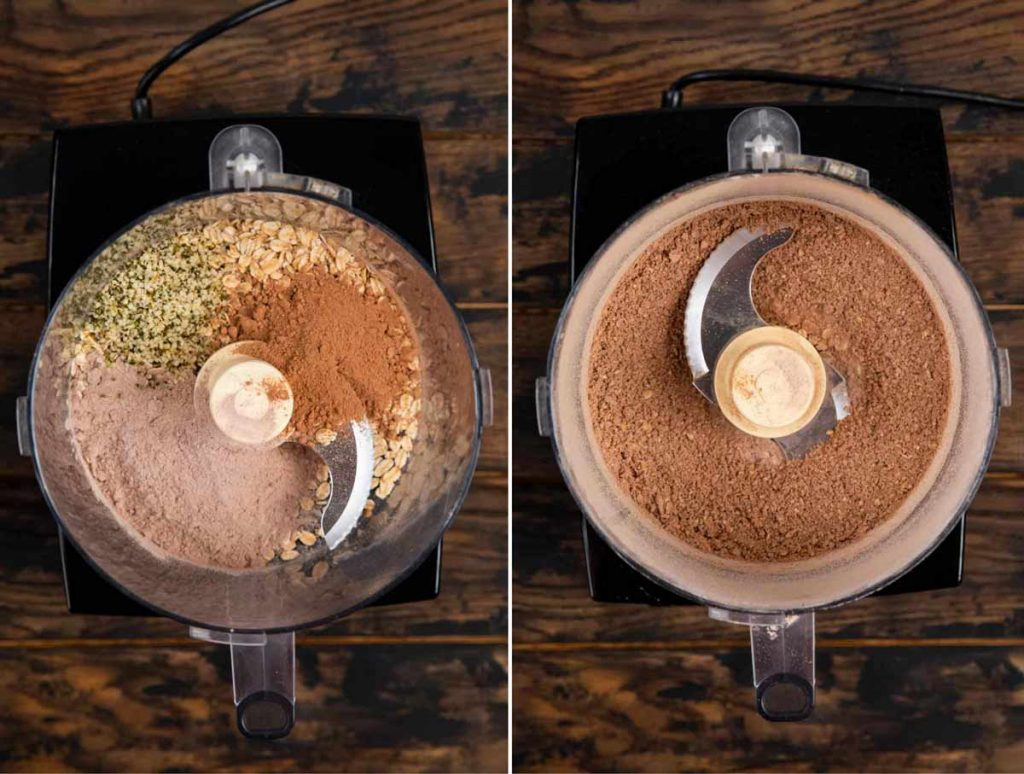 2 images showing the dry ingredients for protein balls added and processed in a food processor.