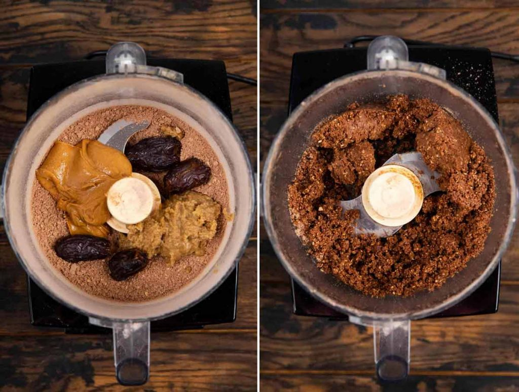 2 images showing wet ingredients for protein balls blended together in food processor.