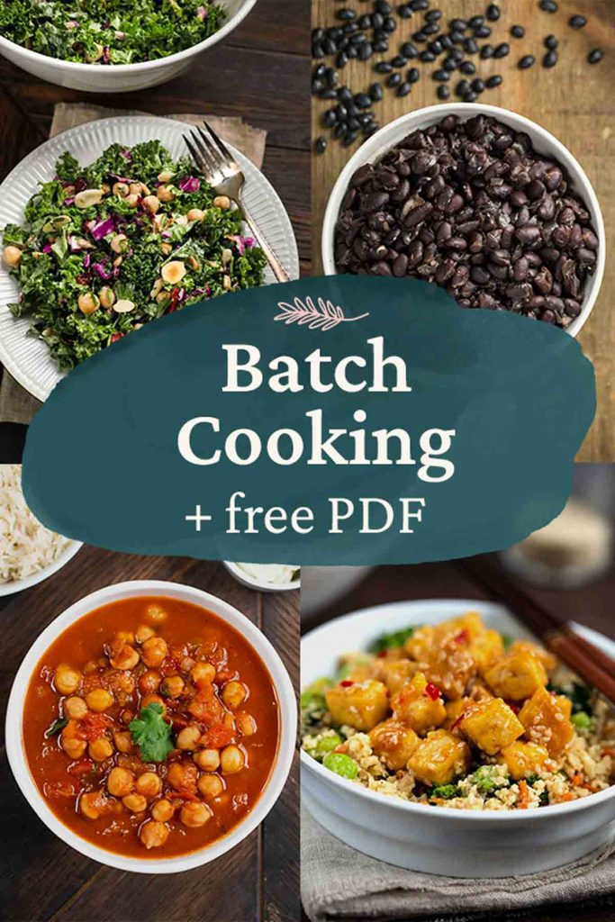 Batch cooking + free PDF with 3 photos of dishes.