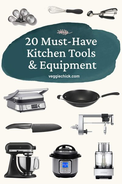 Text with 20 Must Have Kitchen Tools and Equipment with photos of some of the equipment.