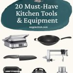 Text with 20 Must Have Kitchen Tools and Equipment and photos of some of the items.