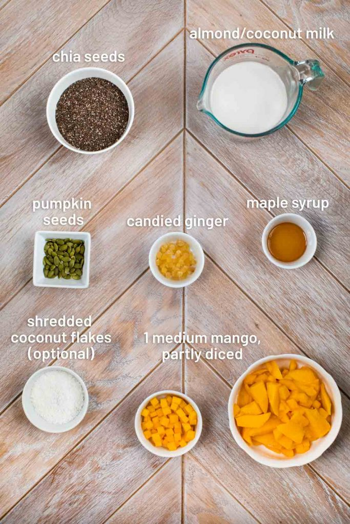 An overhead image of the ingredients for mango chia pudding- chia seeds, plant based milk, pumpkin seeds, candied ginger, maple syrup, coconut flakes, and 1 mango.