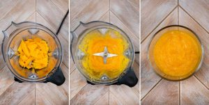 3 images showing mango puree being made in a blender.