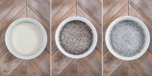 3 images showing chia seeds, maple syrup and milk added to a bowl, and stirred.