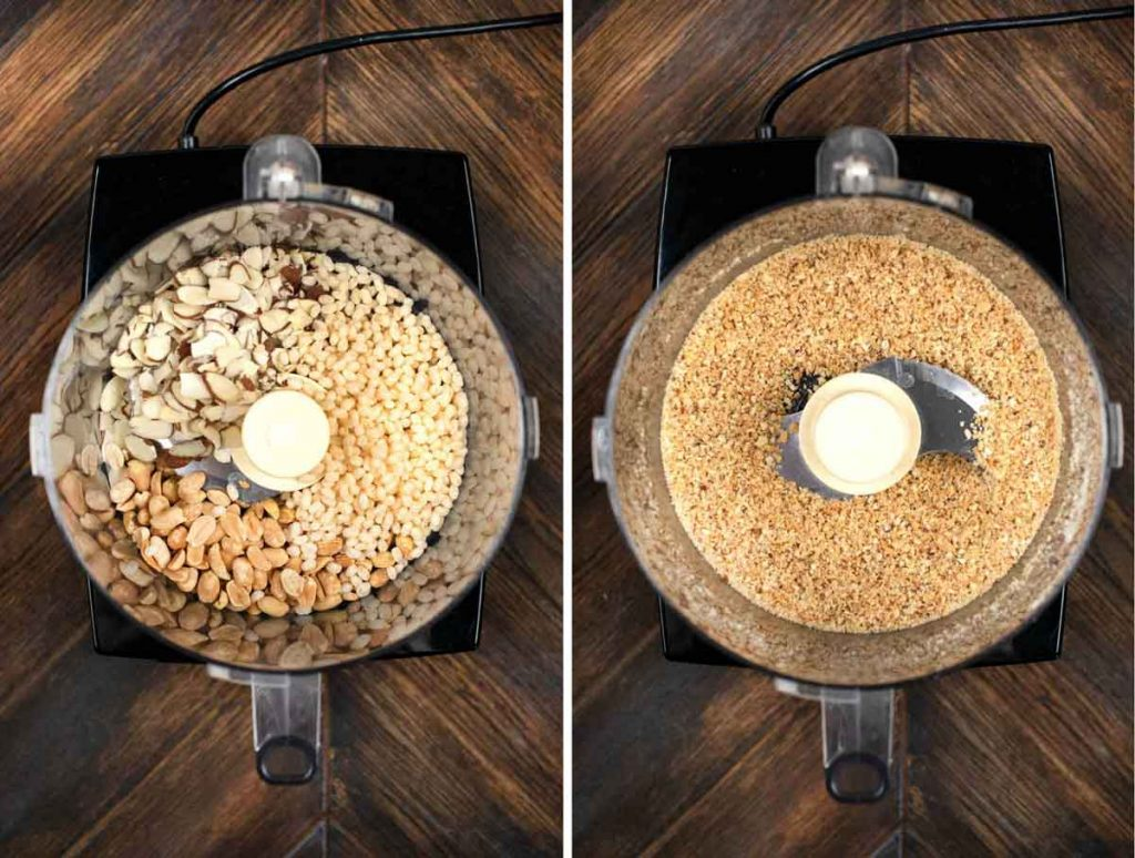 2 photos showing nuts and rice crisp cereal added to a food processor and blended.