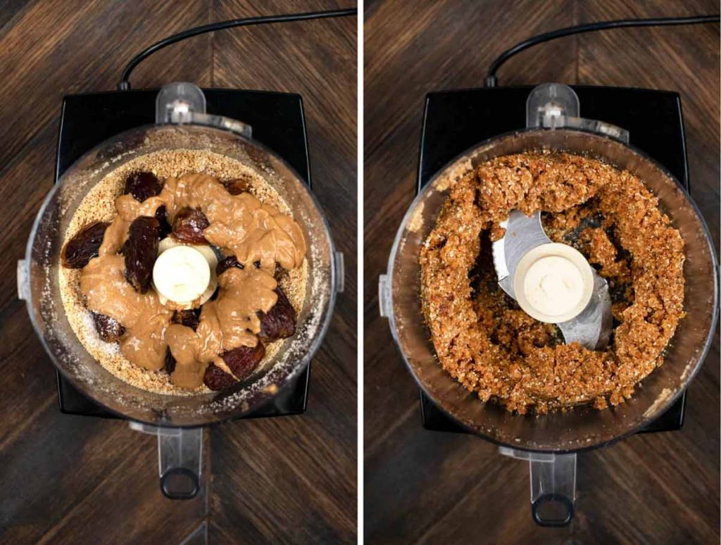 2 photos showing dates, maple syrup, coconut oil, sea salt, and peanut butter added to a food processor and blended.