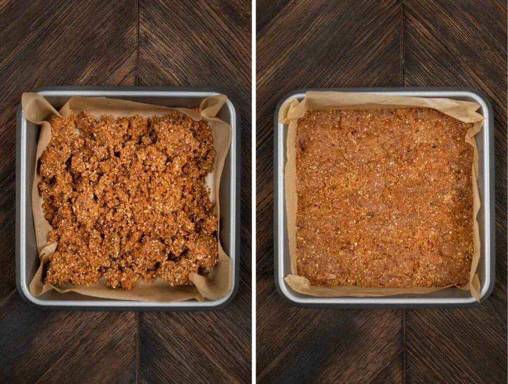2 photos showing the peanut butter mixture for peanut butter chocolate bars added to a pan and smoothed out.